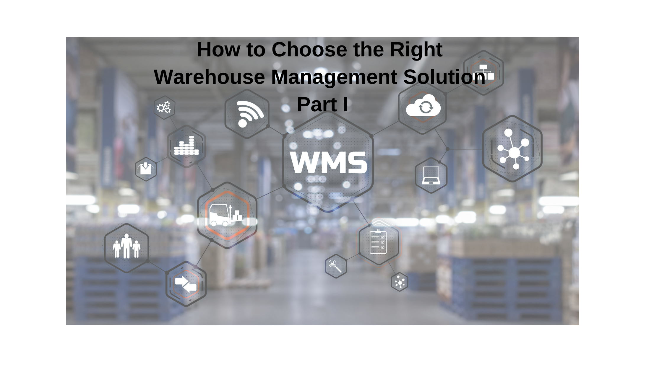 Inscription WMS on blurred warehouse background-warehouse management system